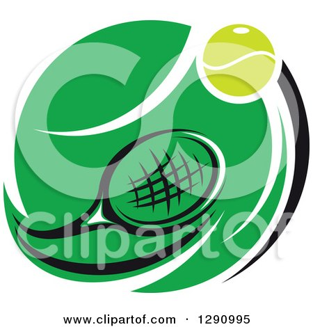450x470 Clipart Of A Green White And Black Tennis Ball And Racket Logo