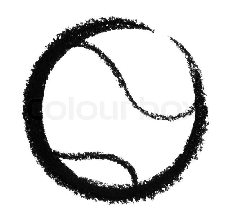 800x746 Crayon Sketched Tennis Ball In White Back Stock Photo Colourbox