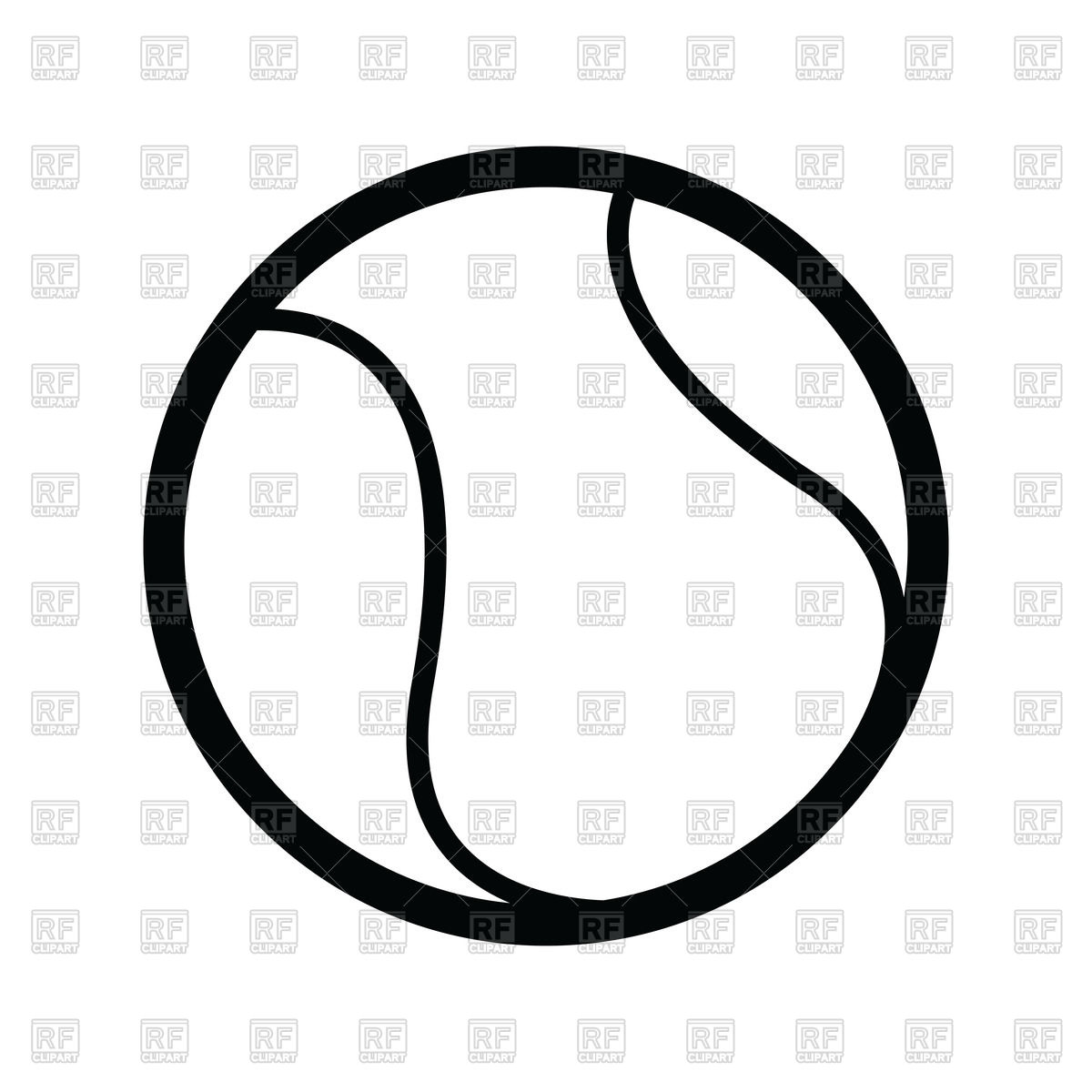 1200x1200 Outline Of Tennis Ball Royalty Free Vector Clip Art Image