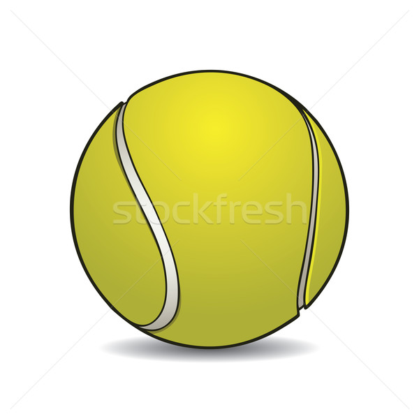 600x600 Realistic Tennis Ball With Outline Vector Illustration Colin