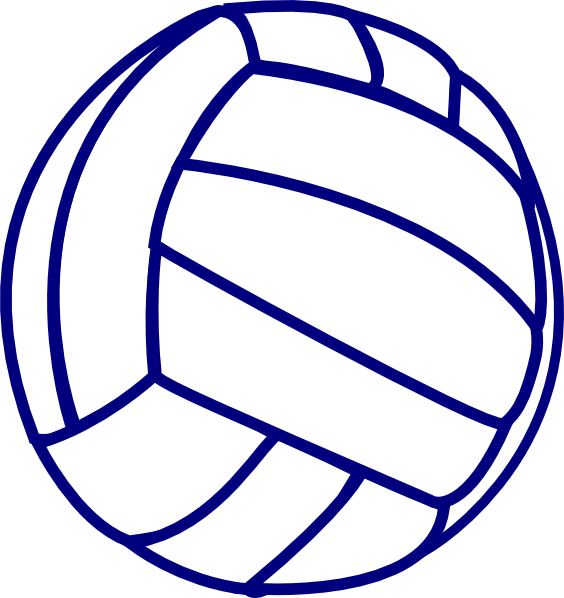 564x598 Volleyball Blue Outline Clip Art