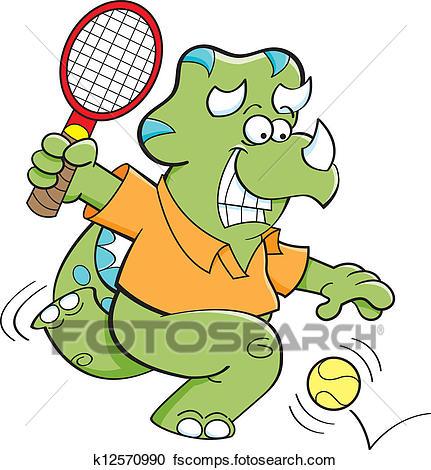431x470 Clipart Of Cartoon Dinosaur Playing Tennis K12570990