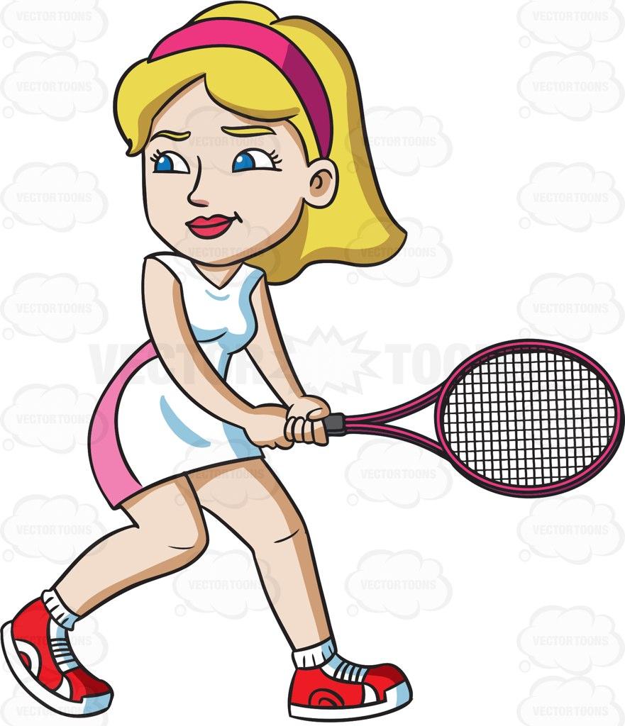881x1024 A Female Tennis Player Getting Ready To Hit A Ball Cartoon Clipart