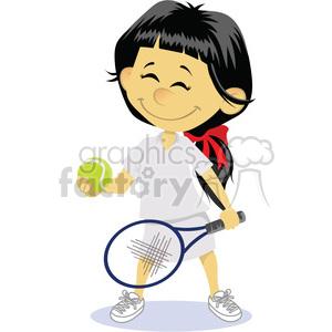 300x300 Royalty Free Cartoon Girl Tennis Player Clip Art Image 393877