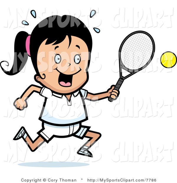 600x620 Sports Clip Art Of A Girl With A Tennis Racket And Ball By Cory
