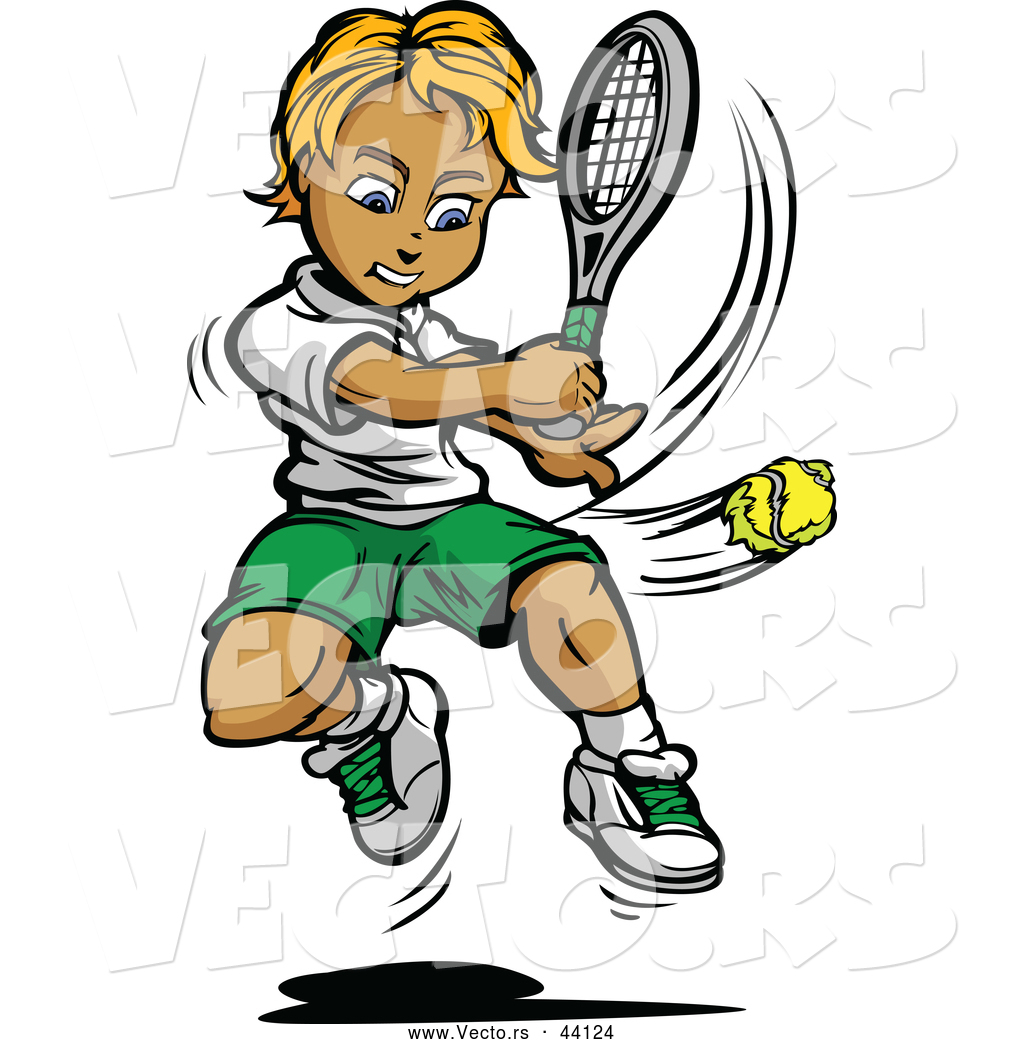 1024x1044 Vector Of A Competitive Cartoon Tennis Player Swinging