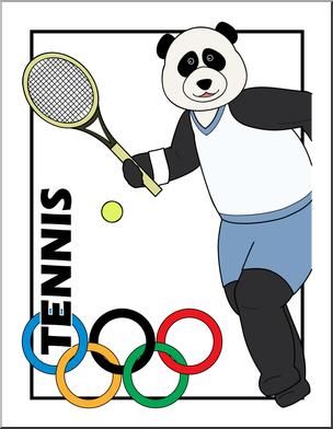 304x392 Clip Art Cartoon Olympics Panda Tennis Color I