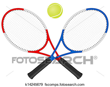 450x357 Clip Art of Tennis rackets and ball k14245679