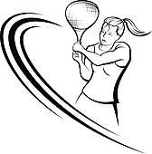 168x170 Clip Art Of Girl Tennis Design K11874466