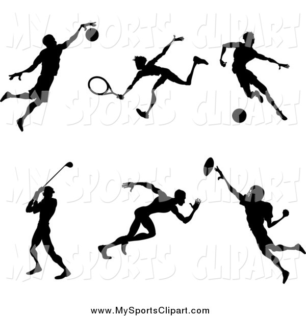 600x620 Sports Clip Art Of Silhouetted Male Athletes Playing Basketball