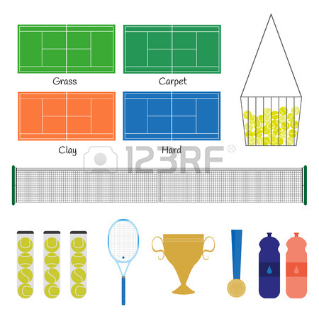 450x450 Big Tennis Items. Tennis Racquet, Balls, Court, Net, Basket