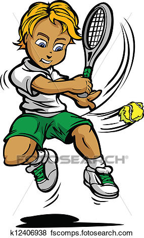 285x470 Clip Art Of Kid Tennis Player Boy Swinging Racquet