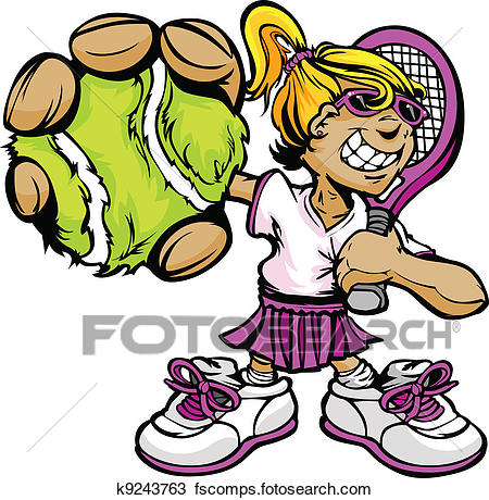 450x460 Clipart Of Kid Tennis Player Girl Holding Racquet And Ball