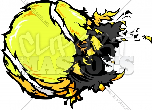 590x427 Exploding Tennis Ball Graphic Vector Logo