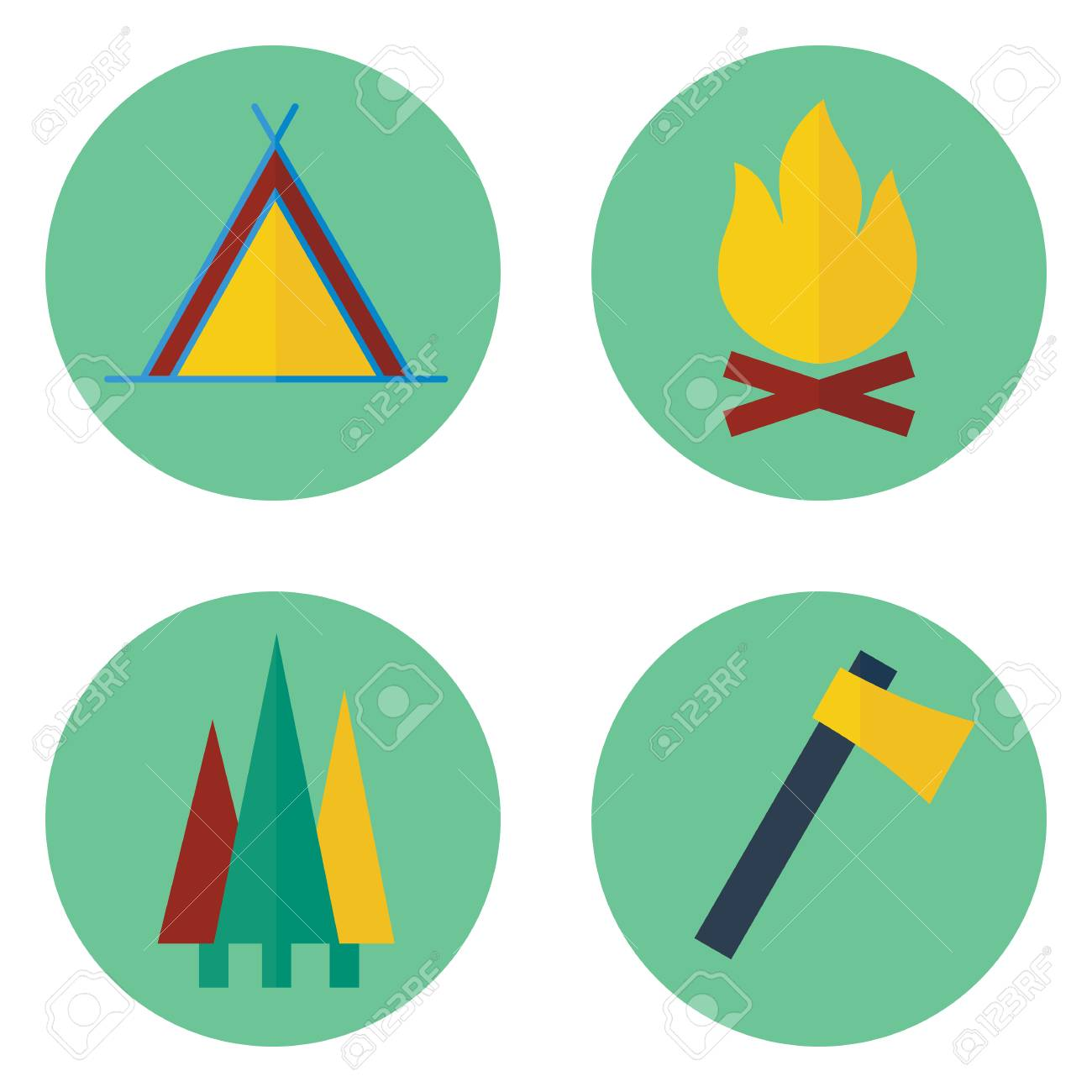 1300x1300 Set Of Camping Vector Icons. Contains Tent, Campfire, Axe, Trees