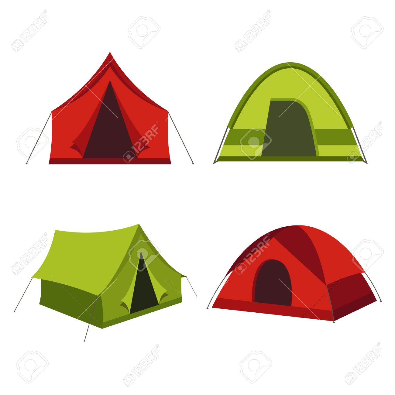 1300x1300 Camping Tent Vector Icons Isolated On White Background. Set