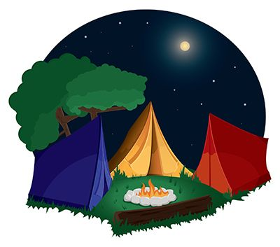 400x353 Changing To Night Clipart Camp Tent