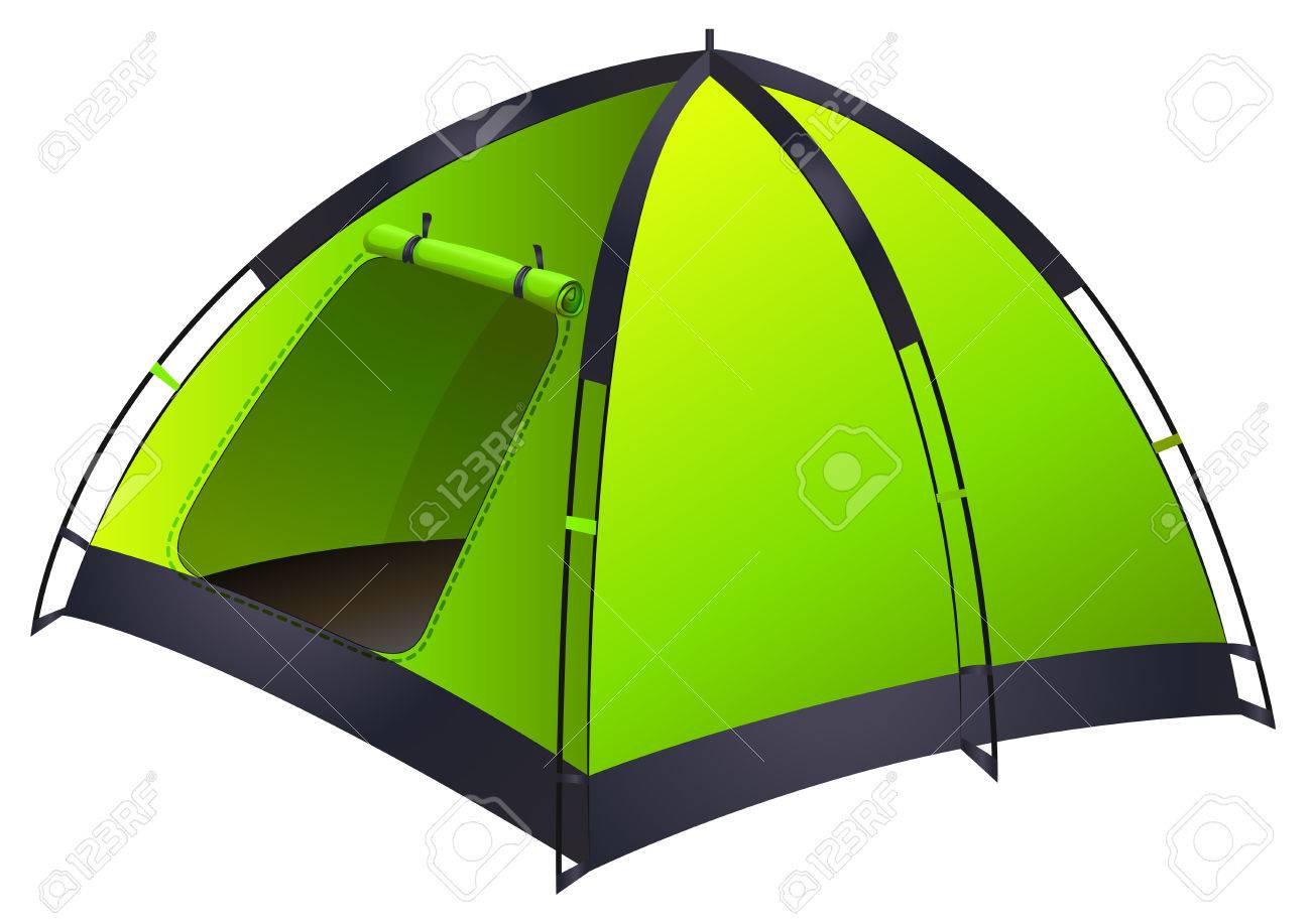 1300x917 Green Single Camping Tent Illustration Royalty Free Cliparts