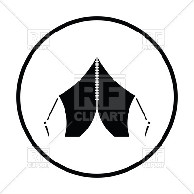 400x400 Thin Circle Design Of Touristic Tent Icon Royalty Free Vector Clip