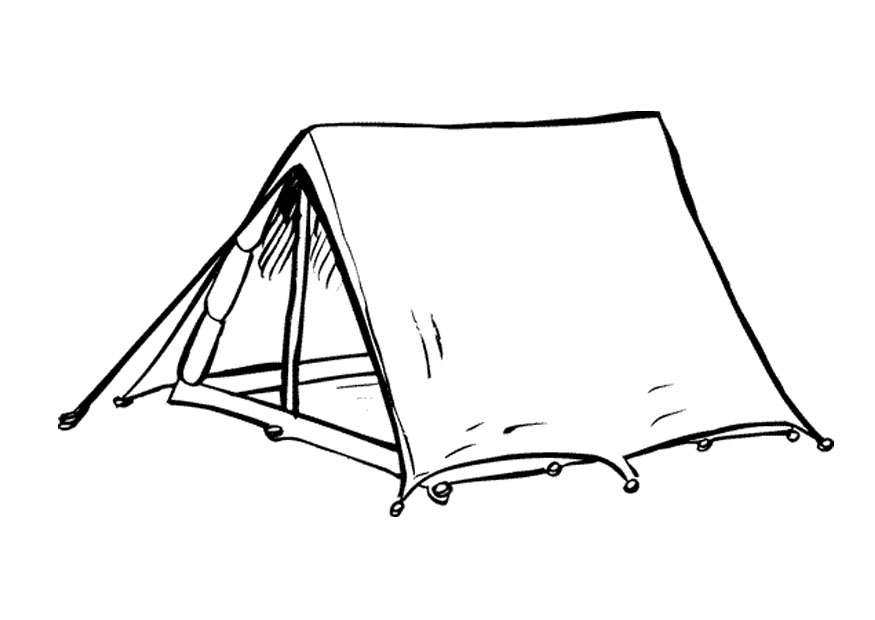 875x620 Tent Clipart Coloring Page