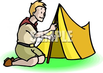 350x248 Boy Scout Putting Up A Pup Tent