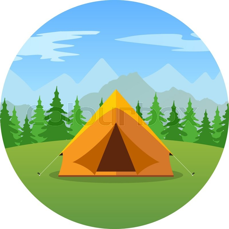 800x800 Cartoon Tent In A Landscape Of Mountains Icon. Tent, Tourism