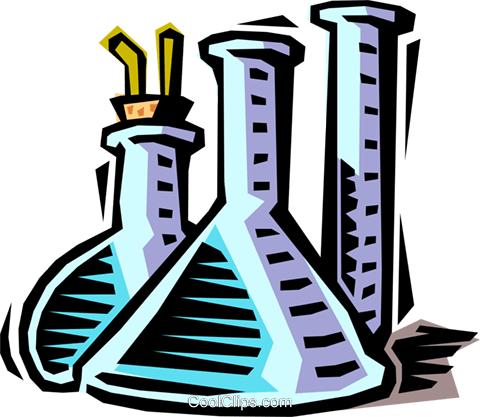 480x417 Beakers And Test Tubes Royalty Free Vector Clip Art Illustration