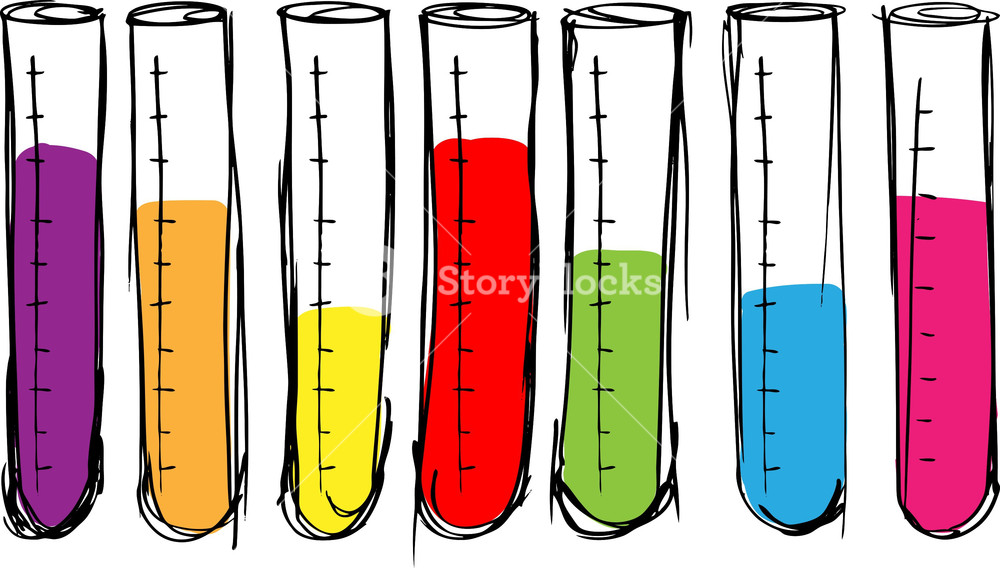 1000x568 Sketch Of Test Tube. Vector Illustration Royalty Free Stock Image