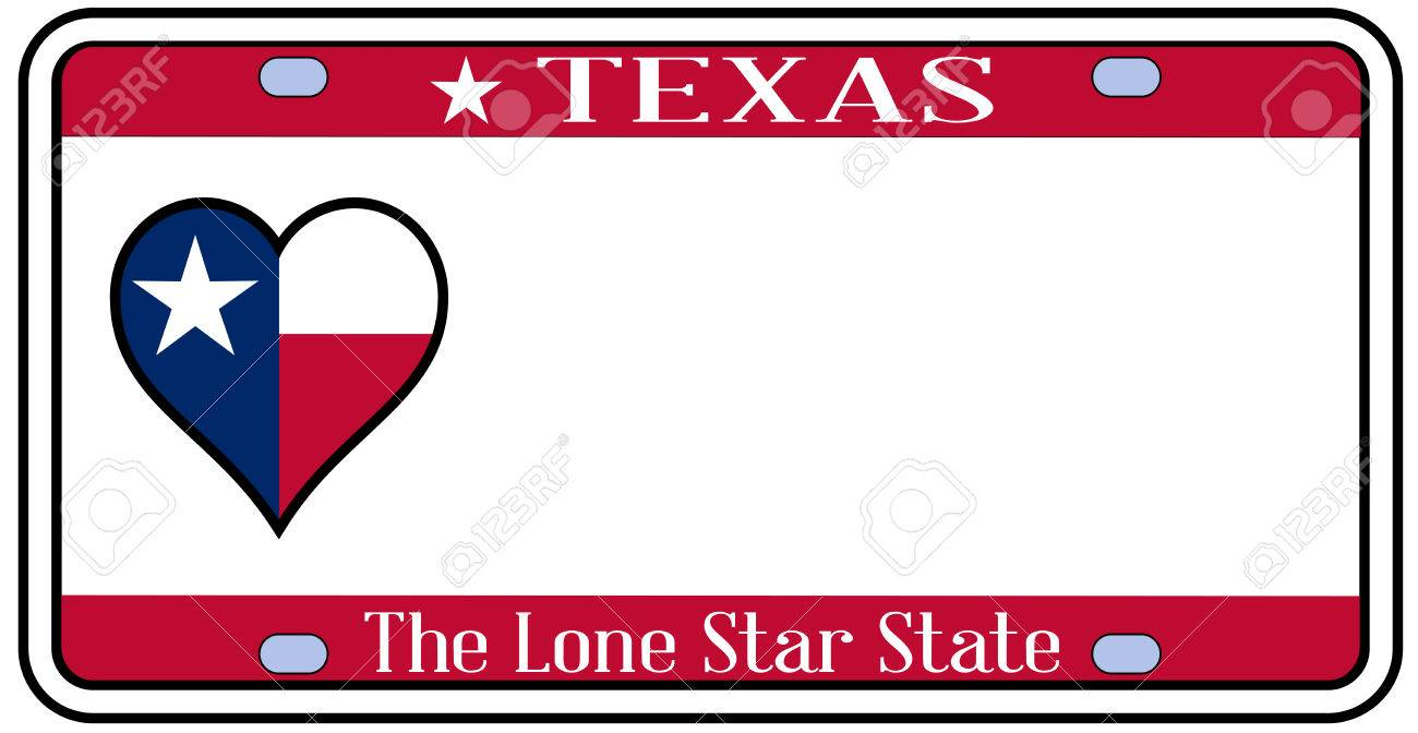 1300x672 Texas State License Plate In The Colors Of The State Flag