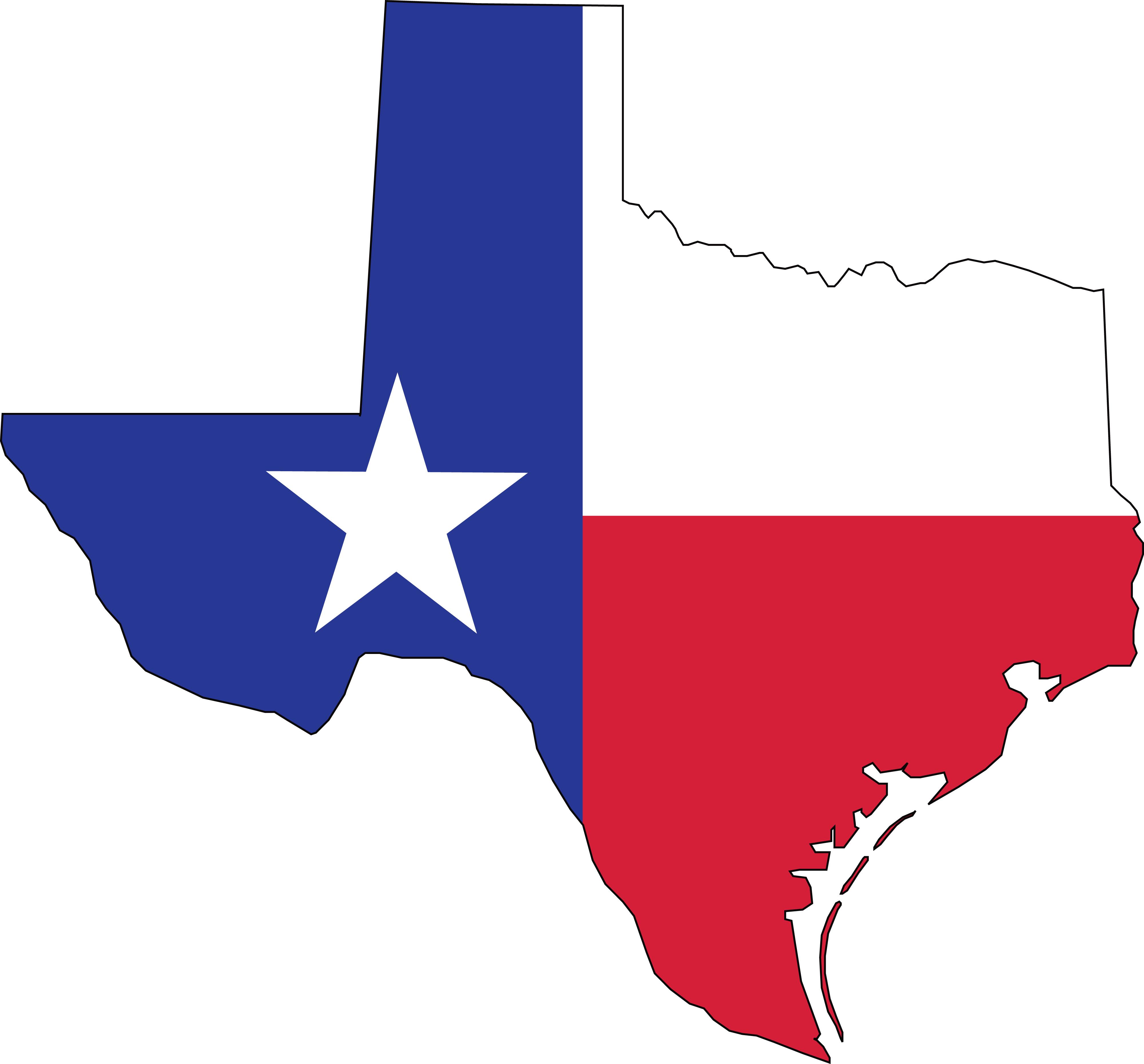 4000x3721 Clipart Of A Texas Flag Map
