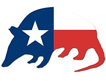 355x273 Armadillo Shaped Texas Flag Sticker (Tx Funny Decal