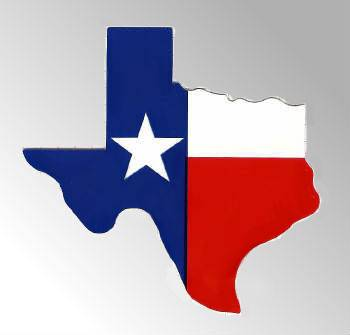 350x335 Texas Flag In The Shape Of Texas Bumper Decal In Bumper Stickers
