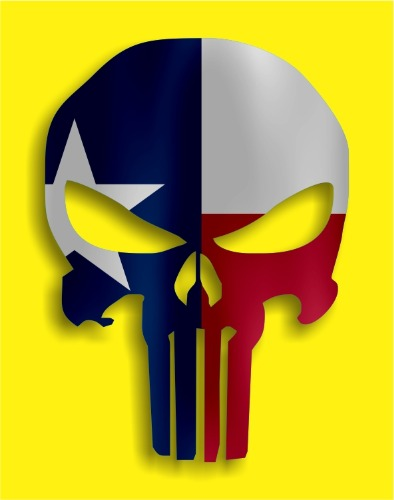 394x500 Punisher Texas Tx Flag Vinyl Decal Sticker