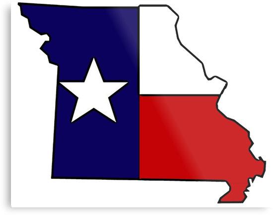 550x433 Missouri Outline Texas Flag Metal Prints By Artisticattitud