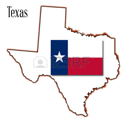 450x434 Outline Map Of Texas In Red White And Blue With The Lone Star