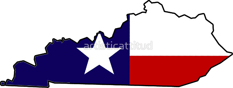 800x303 Texas Flag Kentucky Outline Stickers By Artisticattitud Redbubble