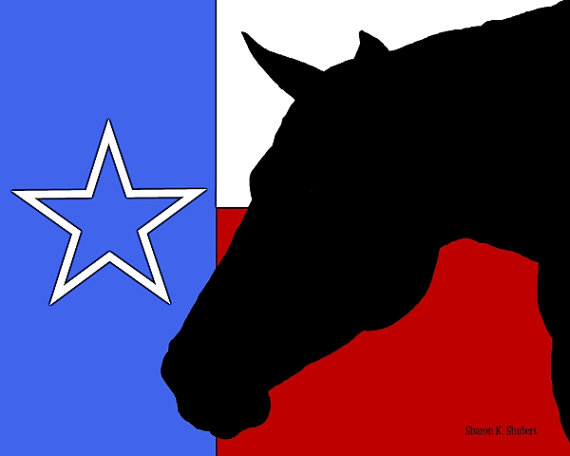 570x456 Texas Flag With Horse Head Silhouette Juxtaposed Over It.