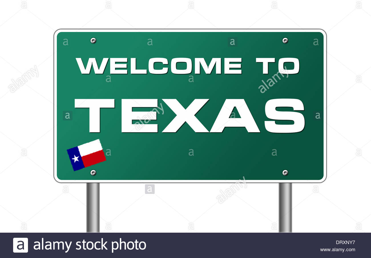 1300x906 Welcome To Texas Road Sign Flag Banner Icon Stock Photo, Royalty