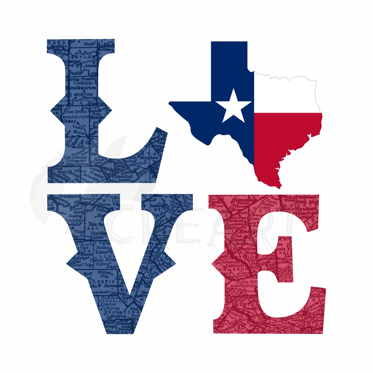 1500x1500 Love Texas Clip Art Svg