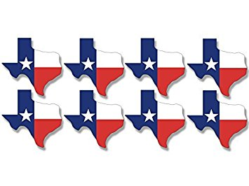 355x266 Sheet Of 8 Texas Shaped Tx Flag Stickers (Tx