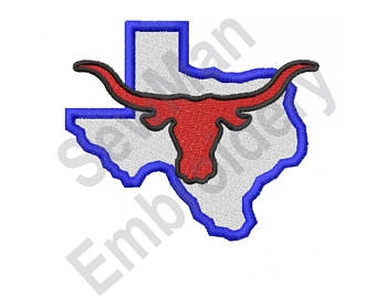 340x270 Texas Longhorn Embroidery Design Etsy