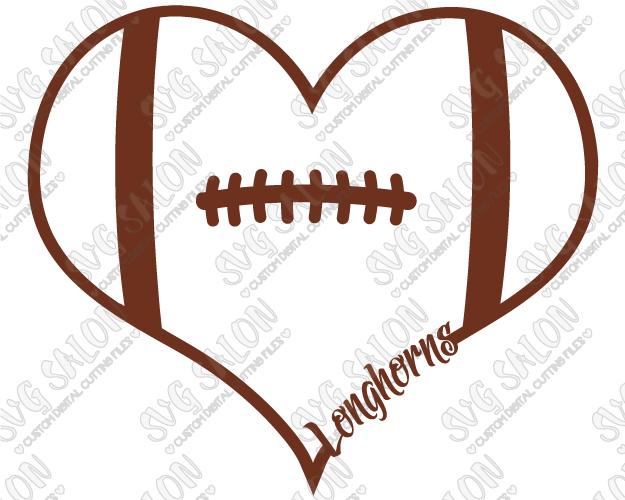625x500 Of Texas Longhorns Fan Football Laces Heart Custom Diy Vinyl Shirt