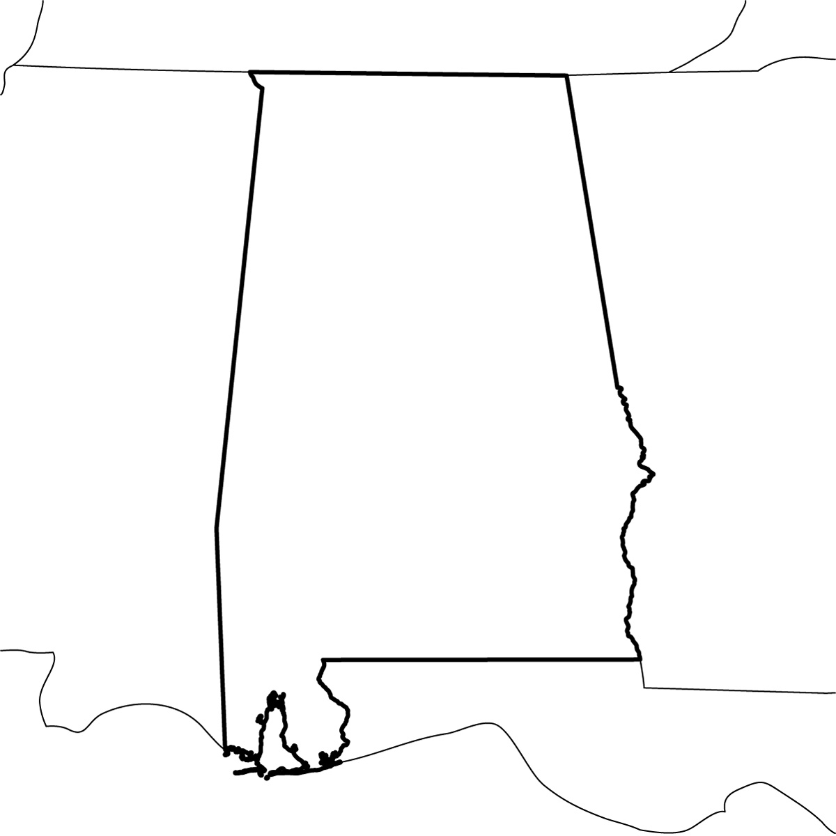 1200x1200 Alabama State Map Clipart