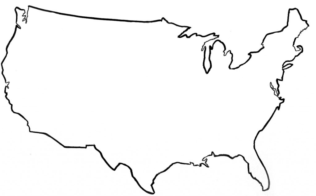 1024x635 Usa Map Outline Clipart