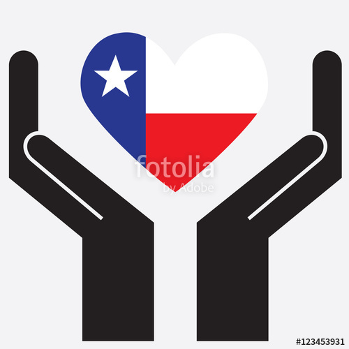 500x500 Hand Showing Texas Flag In A Heart Shape. Vector Illustration