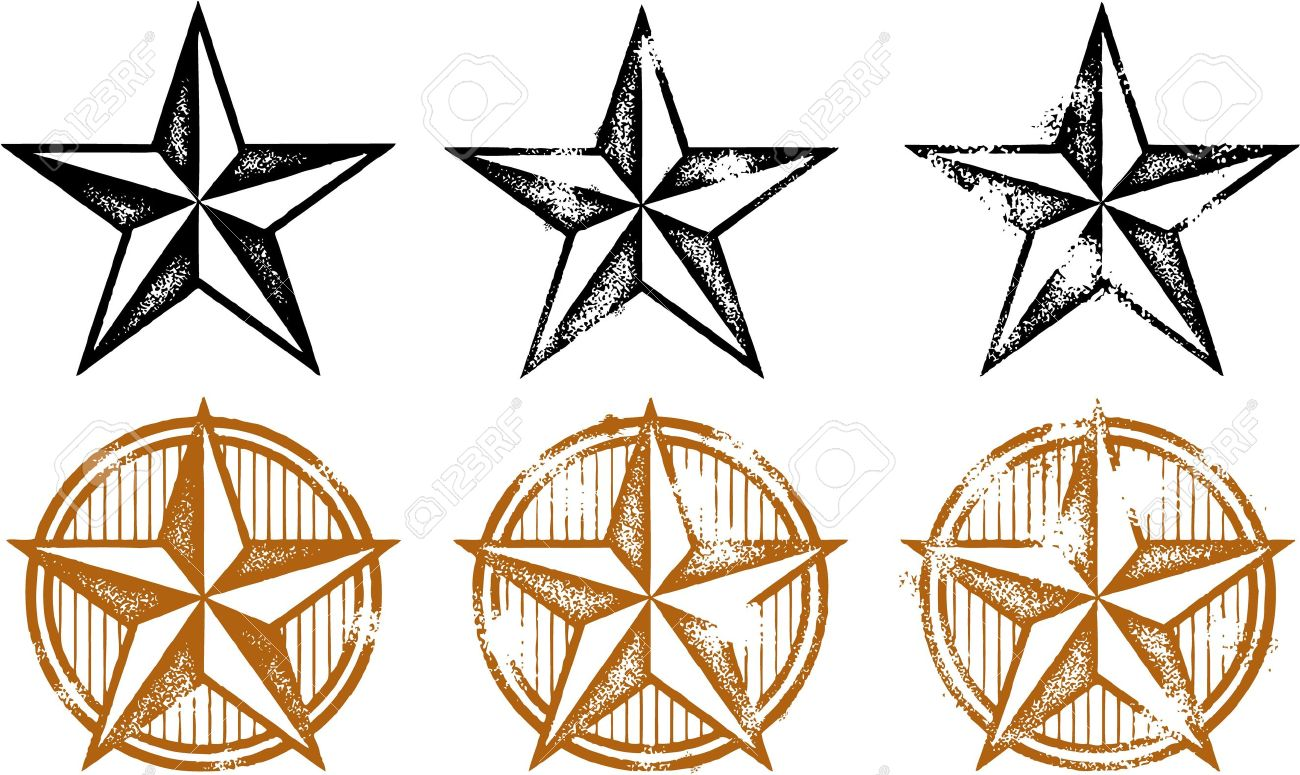 1300x775 Vintage Distressed Western Stars Royalty Free Cliparts, Vectors