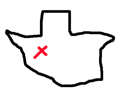 400x309 Alana G A Freehand Drawing Of Texas From Memory
