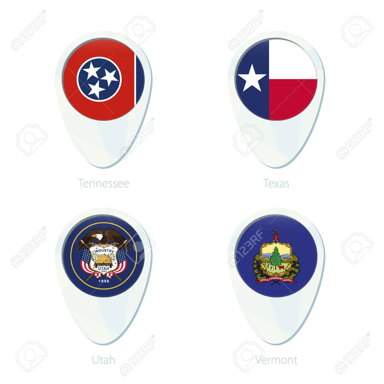 1300x1300 Tennessee, Texas, Utah, Vermont Flag Location Map Pin Icon
