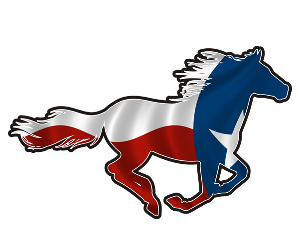 600x500 Texas Horse Decal TX State Flag Texan Pony Mustang Vinyl Sticker