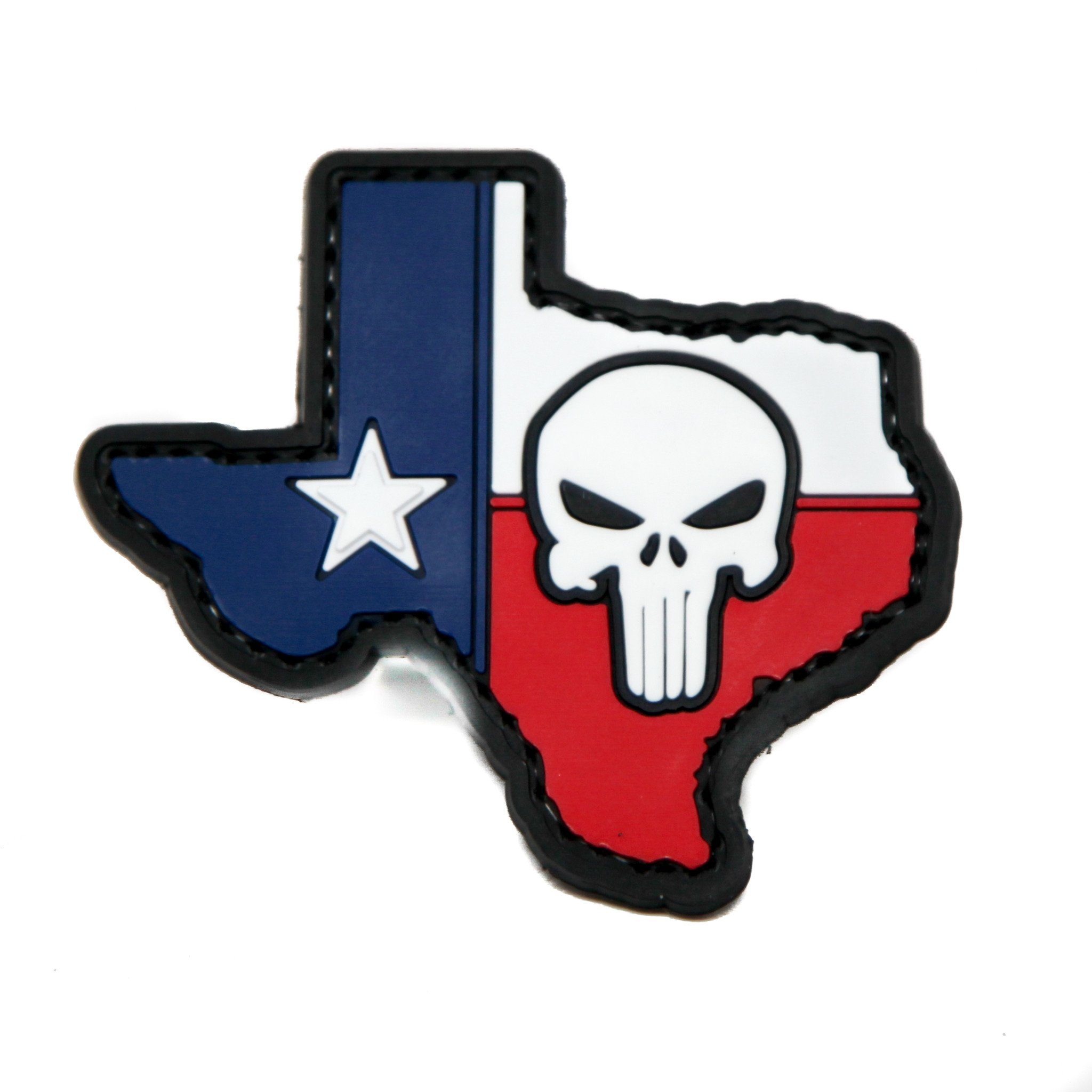2048x2048 Texas State Flag With Punisher PVC Morale Patch